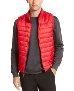 Hawke & Co. Outfitter Men's Packable Down Blend Puffer Vest In Dark Red