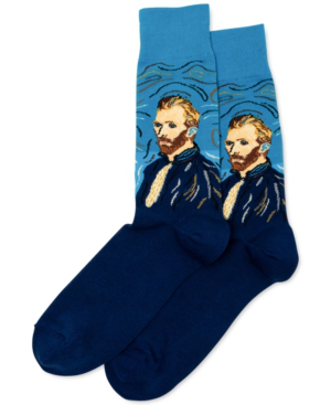 Hot Sox Men's Van Gogh Self-portrait Crew Socks In Turquoise
