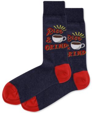 Hot Sox Men's Rise & Grind Crew Socks In Denim Heather