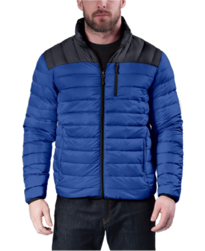 Hawke & Co. Outfitter Men's Colorblocked Packable Down Blend Jacket In Chrome Blue/blue Nights