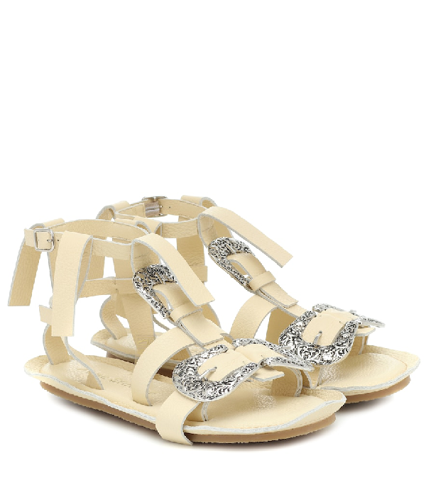 Acne Studios Western-buckle Leather Gladiator Sandals In White