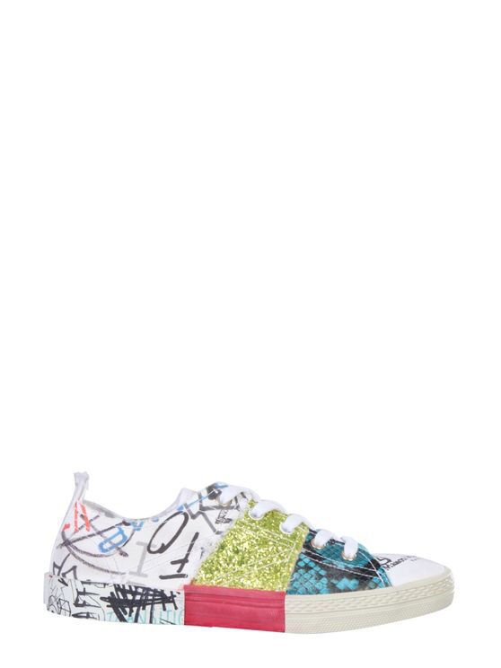 Maison Margiela Patchwork Multicolor Cotton Sneakers In White