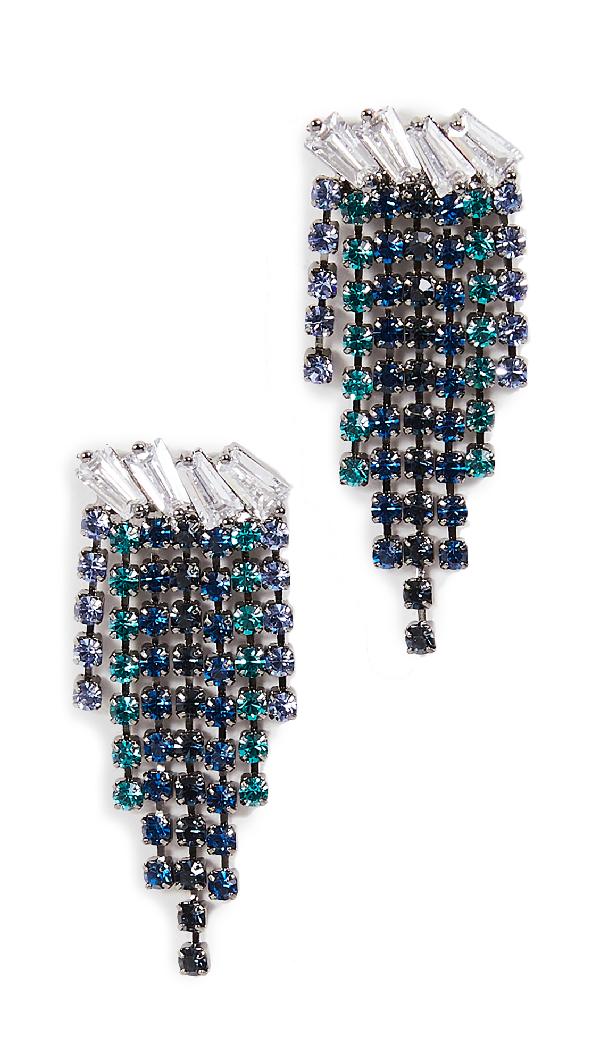 Theia Jewelry Nora High Quality Baguette Cut Earrings In Gunmetal Finish