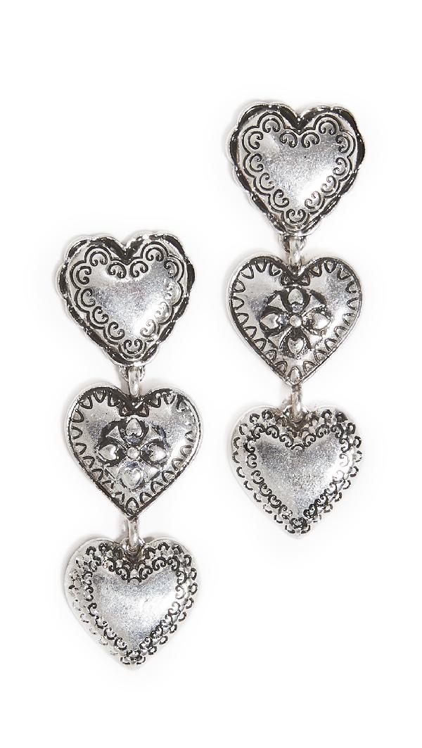 Stella & Ruby Silver Heart Drop Earrings