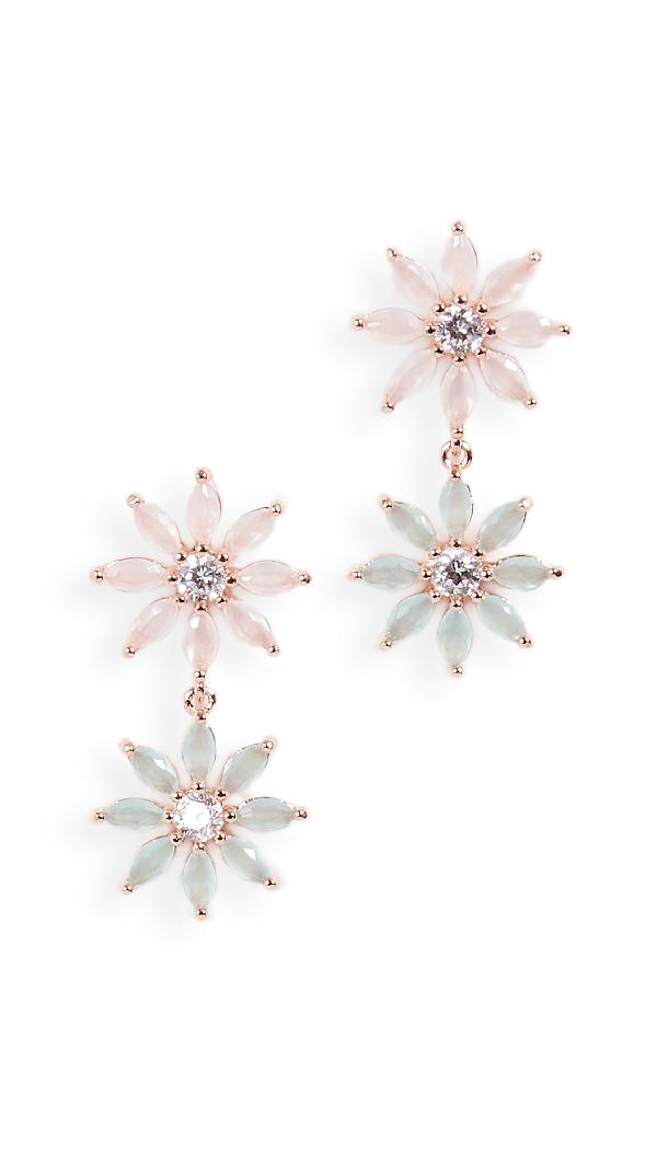 Theia Jewelry Maya Two Tier Petal Drop Earrings In Rose Gold