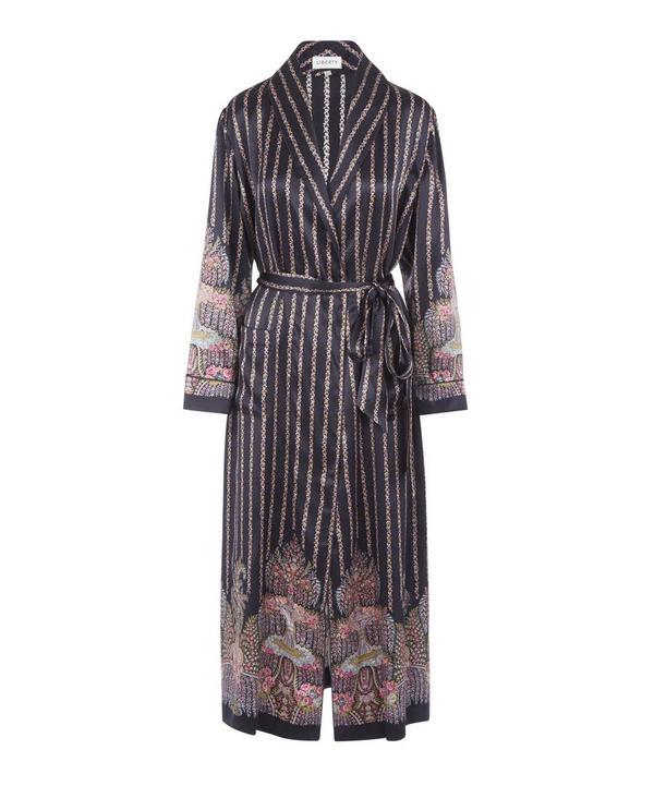 Liberty London Seraphina Silk Charmeuse Robe In Navy