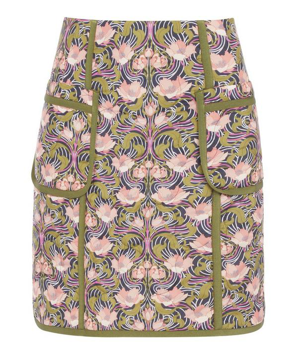 Liberty London Alicia Quilted Skirt In Blue