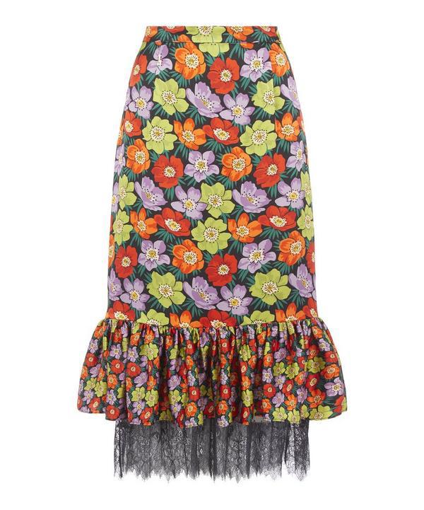 Liberty London Rhonda Tilly Silk Frilled Skirt In Black