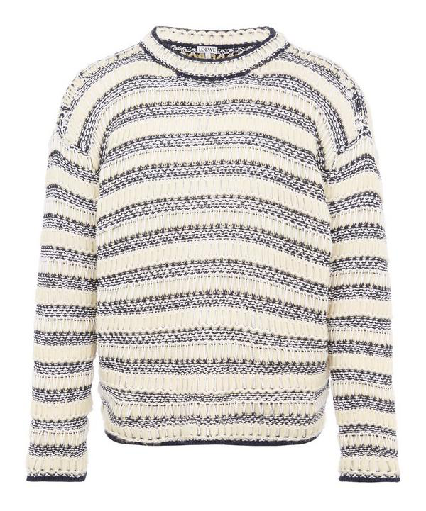 Loewe Open-knit Striped Cotton And Wool-blend Sweater In Neutrals