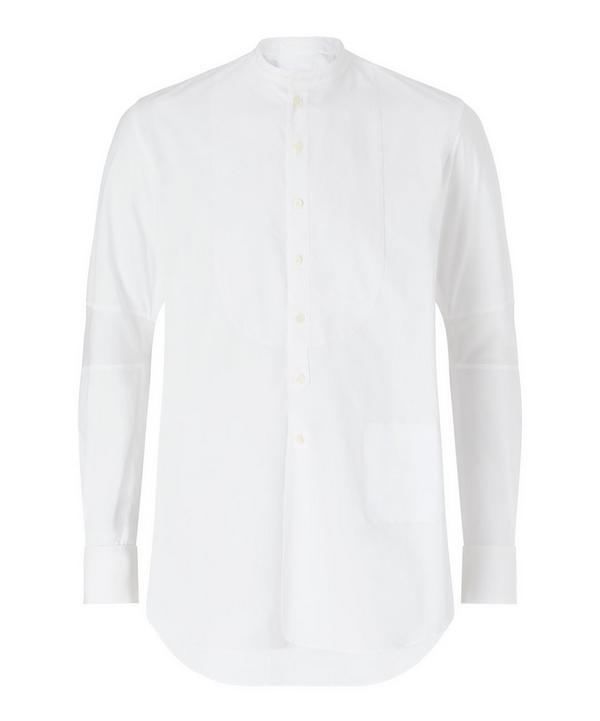 The Soloist Grandad Collar Bib Shirt In White