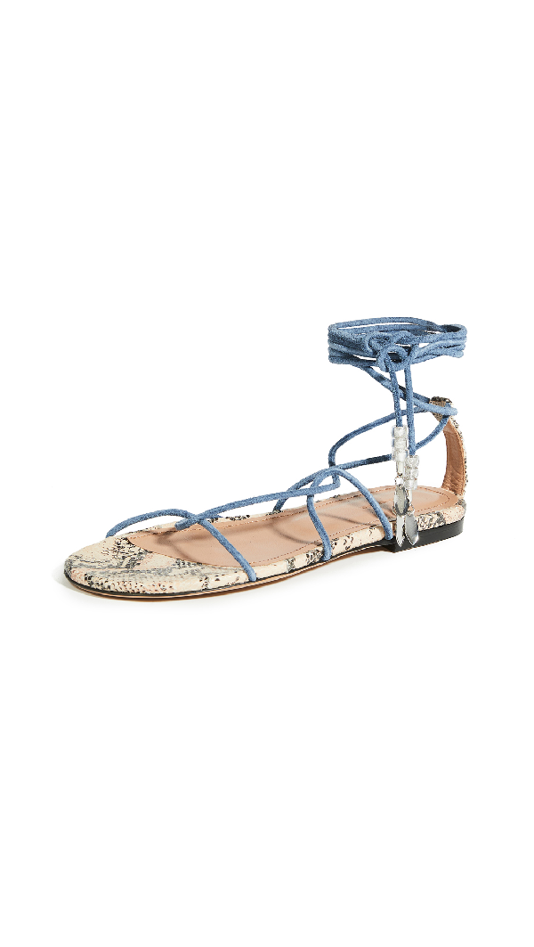 Isabel Marant Jindia Flat Strappy Sandals In Blue