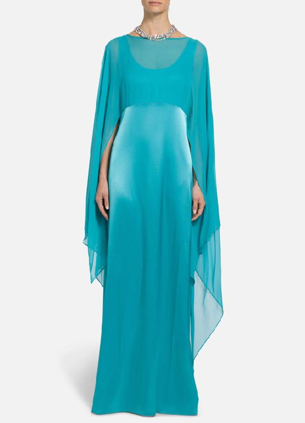 St. John Liquid Satin Cape Overlay Dress In Monarch Blue