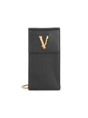 Versace Small Virtus Leather Crossbody Phone Case In Black