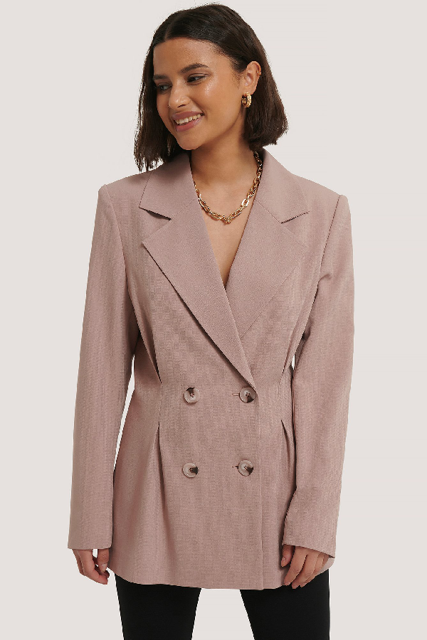 ChloÉ B X Na-kd Pleat Detail Blazer Pink In Mauve