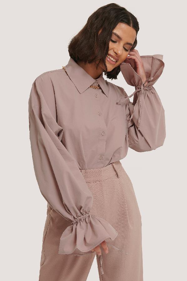 ChloÉ B X Na-kd Wide Sleeve Shirt Pink In Mauve