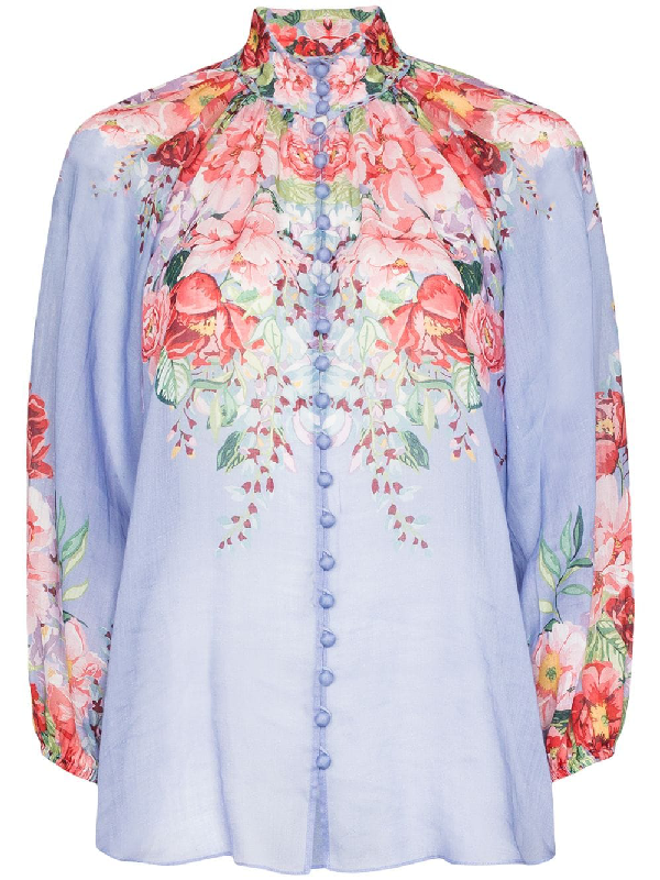 Zimmermann 'bellitude' Contrast Floral Print Stand Collar Blouson Sleeve Blouse In Blue