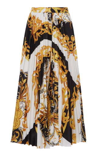 Versace Barocco Acanthus Printed Pleated Midi Skirt In Black
