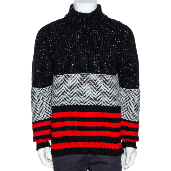 Burberry Tricolor Contrast Striped Knit Turtleneck Sweater M In Black