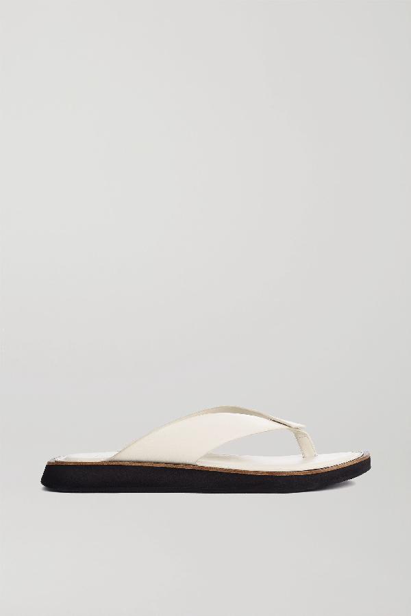 Rag & Bone Parker Leather Platform Flip Flops In White