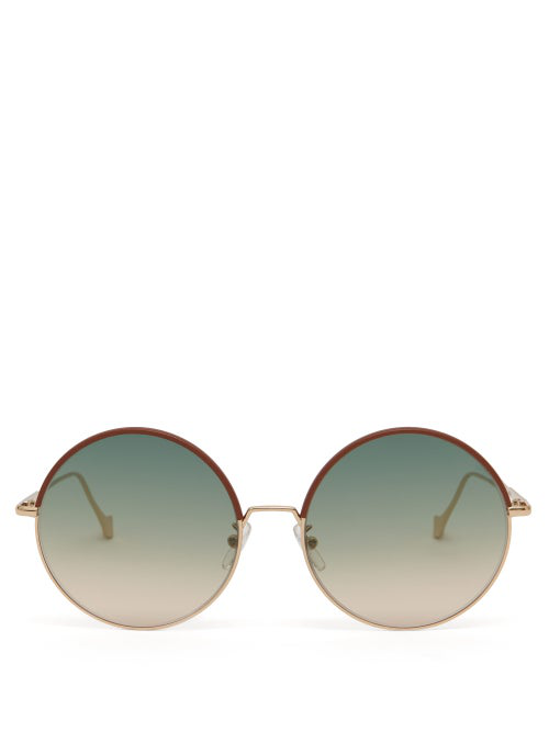 Loewe Round Metal And Leather Sunglasses In Green Multi