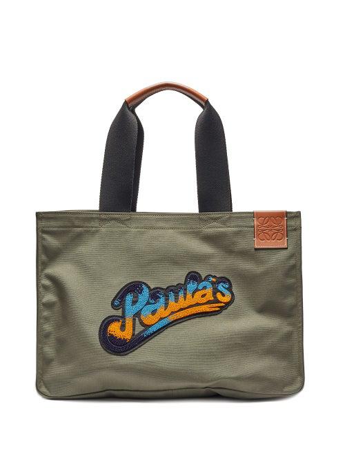Loewe Paula's Ibiza Logo-appliquÉd Leather-trimmed Canvas Tote Bag In Khaki