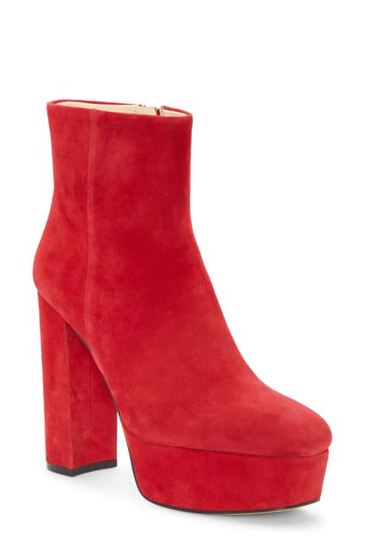 Vince Camuto Leslieon Square Toe Platform Boot In Ramba Red Suede