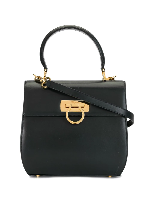Salvatore Ferragamo Gancini 2way Bag In Black