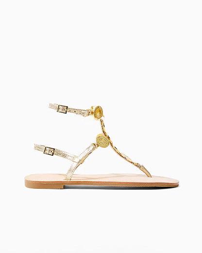 Lilly Pulitzer Palermo Embellished Gladiator Sandal In Gold Metallic