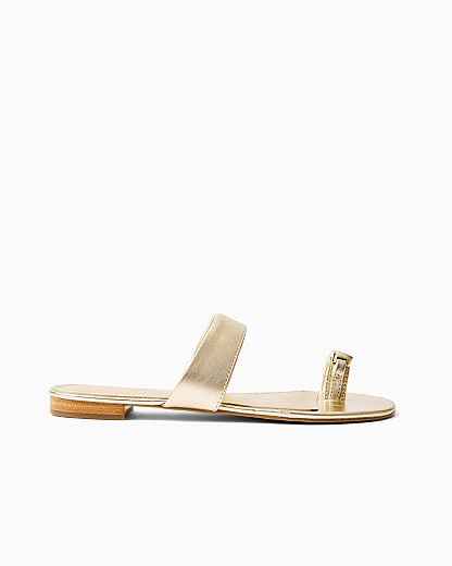 Lilly Pulitzer Callie Slide Sandal In Gold Metallic