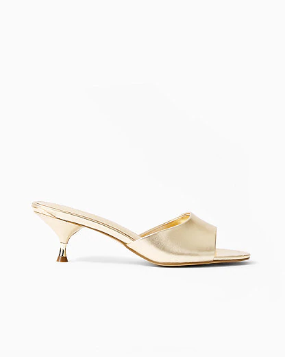 Lilly Pulitzer Kimmy Mule Slide Sandal In Gold Metallic