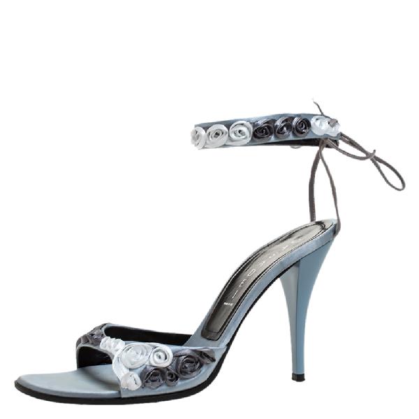 Casadei Grey Satin Floral Ankle Tie Up Sandals Size 38