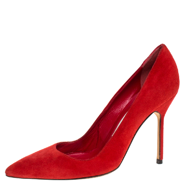 Manolo Blahnik Red Suede Bb Pointed Toe Pumps Size 35