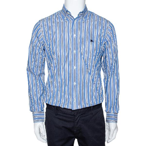 Burberry Blue Striped Cotton Button Down Long Sleeve Shirt S