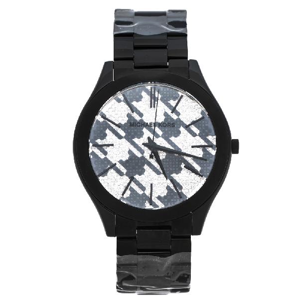 Michael Kors Houndstooth Black Ion Plated Stainless Steel Runway Mk3326 Women's Wristwatch 38 Mm