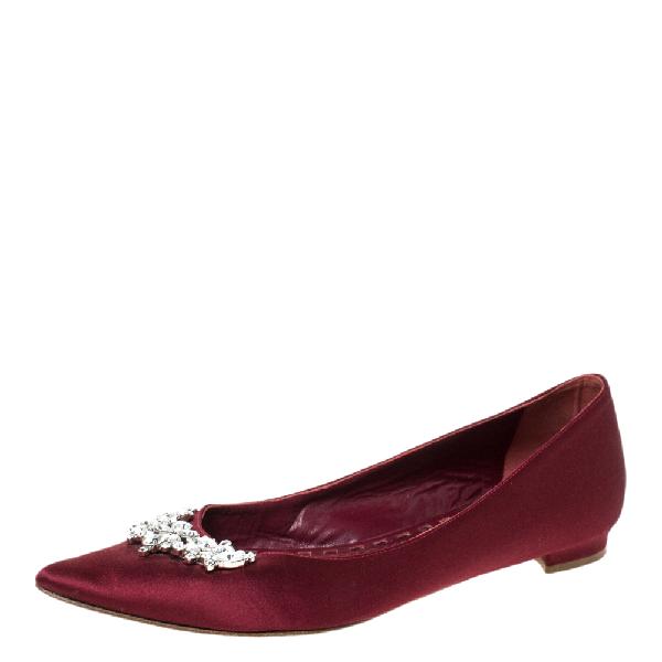 Manolo Blahnik Burgundy Satin Lurum Embellished Ballet Flats Size 38.5