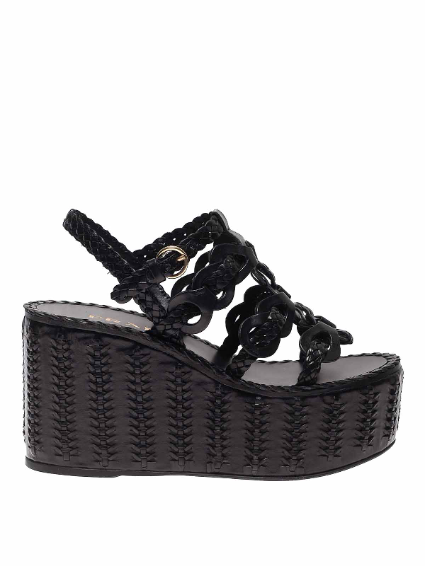 Prada Sandals In Black With Leather Wedge