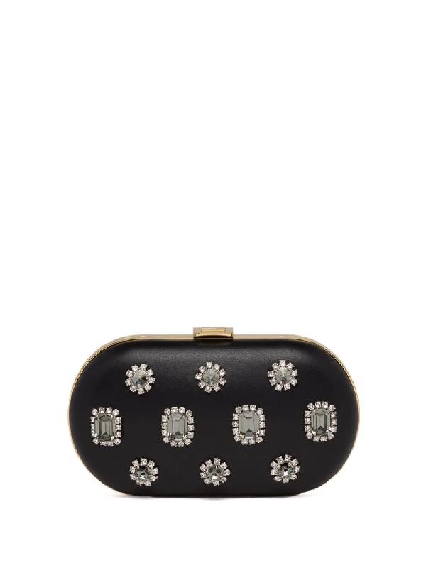 Prada Jewel Appliqué Clutch In Black