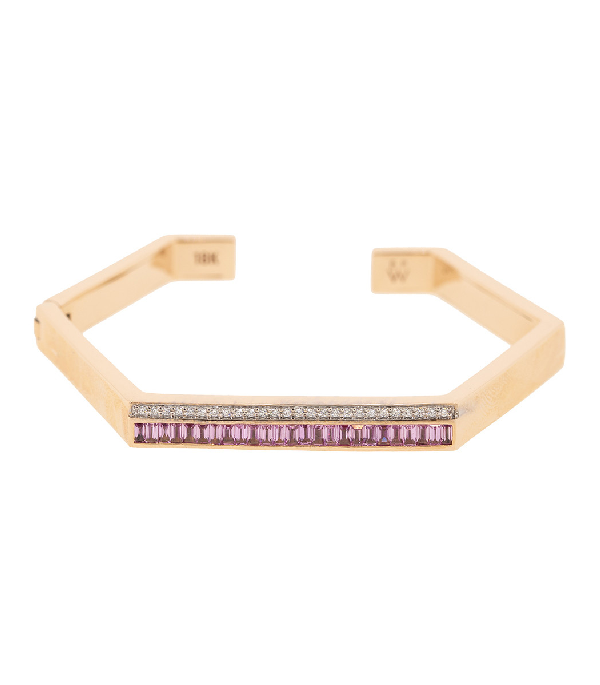 Emily Wheeler Pink Sapphire And Diamond Hexagon Cuff In Rosegold