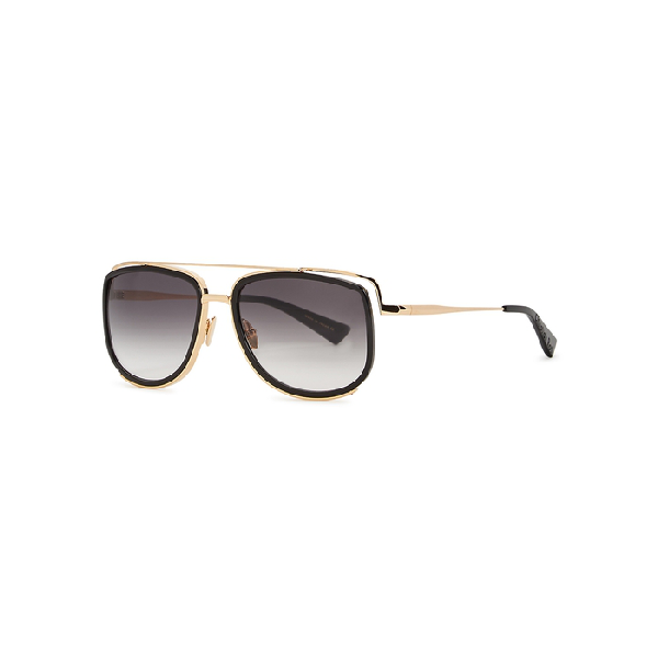 Christian Roth Crs-100 Gold-tone Square-frame Sunglasses In Black