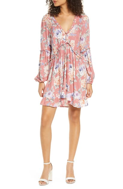 Auguste Pascal Dunes Floral Long Sleeve Minidress In Rose