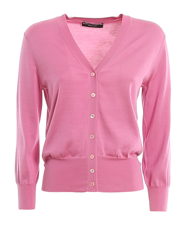 Dolce & Gabbana V-neck Silk Knit Cardigan In Pink