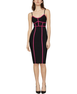Bcbgmaxazria Sleeveless Contrast Fitted Dress In Very Berry Combo