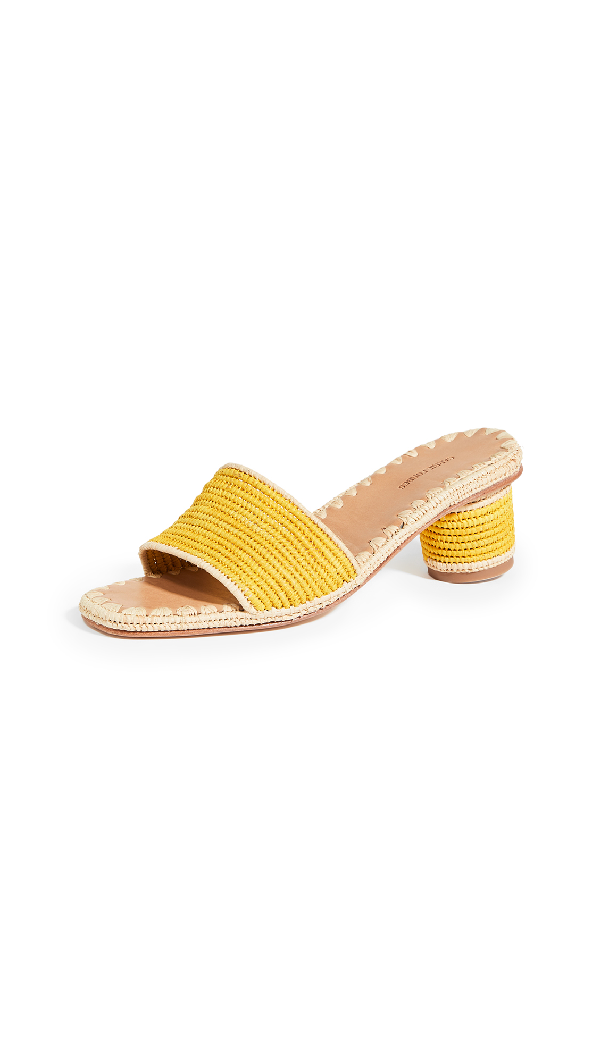 Carrie Forbes Bou Heeled Slides In Natural/stripe