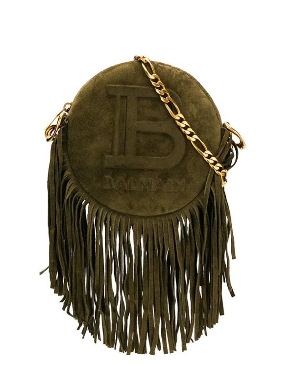 Balmain Khaki Disco 18 Bag