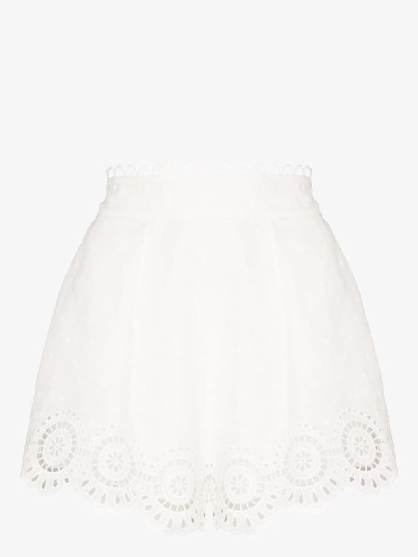 Zimmermann Bellitude Scalloped Broderie Anglaise Linen Shorts In White