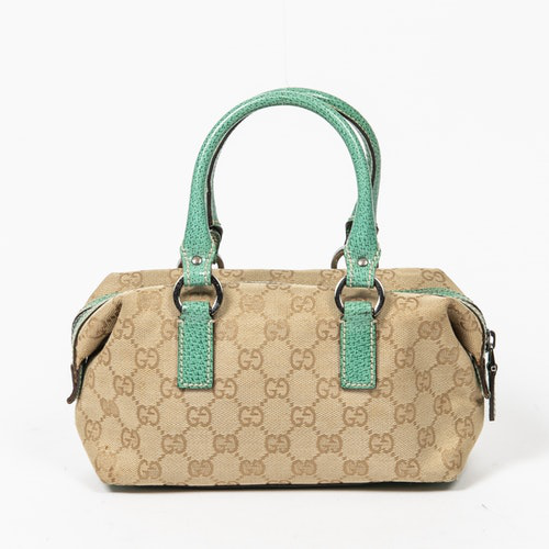 Gucci Boston Brown Cotton Handbag