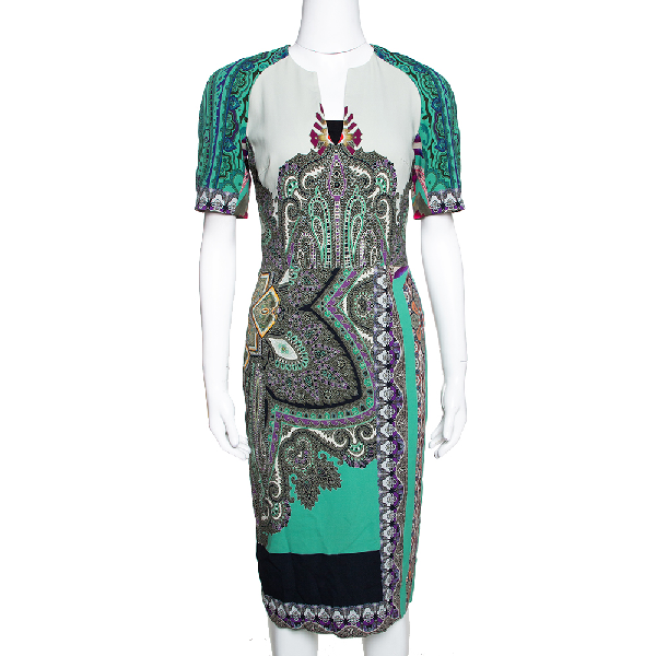 Etro Multicolor Paisley Printed Stretch Crepe Sheath Dress S
