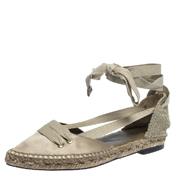 Manolo Blahnik Castaner By  Grey Satin And Canvas Espadrille Pointed Toe Ankle Tie Flat Sandals Size