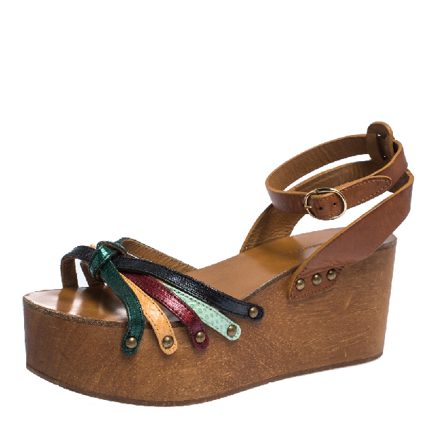 Isabel Marant Multicolor Leather Zia Wooden Wedge Ankle Strap Sandals Size 37