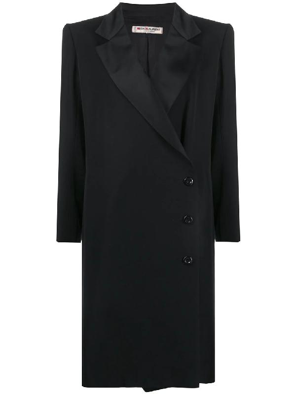 Saint Laurent Structured Shoulder Knee-length Coat In Black